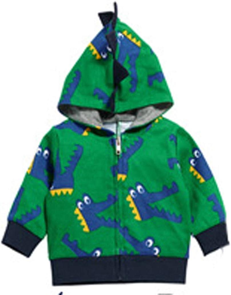 Qinni-shop Baby Toddler Boys Kids Dinosaur Print Hoodie Fashion Zip Sweatshirt Pullover