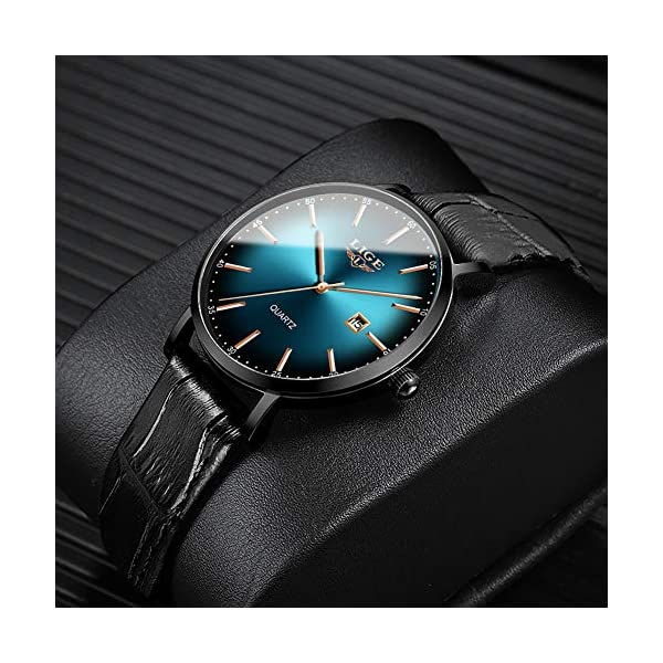 LIGE Men's Watches Ultra-Thin Minimalist Waterproof Stylish Unisex Wrist Watches with Leather Strap Analog Quartz Watches for Men
