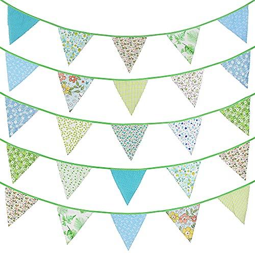 G2PLUS 12m Stoff Wimpel Girlande, Grün Bunting Wimpelkette mit 42 STK Farbenfroh Wimpeln für Hochzeits Geburtstag Party