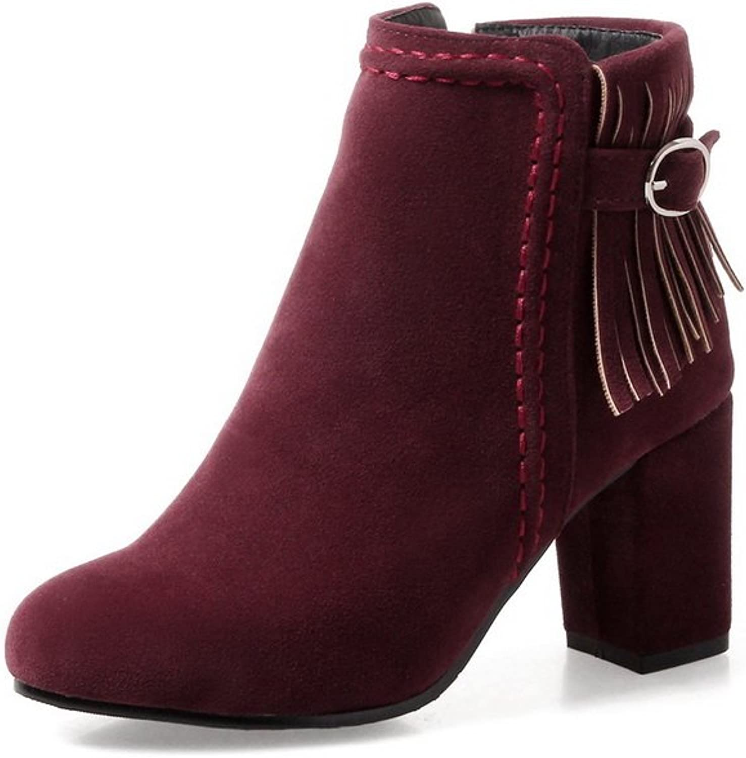 BalaMasa Womens Fashion Slip-Resistant Tassels Suede Boots ABL10122