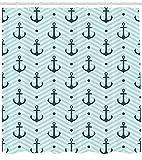 ABAKUHAUS Abstrakt Duschvorhang, Zickzack Chevron Anker, mit 12 Ringe Set Wasserdicht Stielvoll Modern Farbfest & Schimmel Resistent, 175x180 cm, Dunkelgrün Türkis