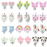 PinkSheep Bling Clip On Earrings for Little Girls, Unicorn Earrings Cake Earrings Ladybug Earrings...