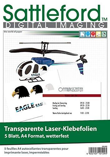 Sattleford Bedruckbare Folie: 5 Klebefolien A4 für Laserdrucker transparent (Decalfolien)