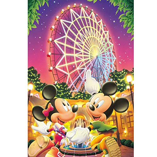 Cartoon Mouse Diamond Painting by Number Kits, Ferris Wheel Full Drill Round Rhinestone Embroidery Cross Stitch Ornaments Arts Craft Canvas Wall Decor (11.8X15.75 Inch)