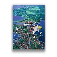 白鳩魔女都市ポスター有名な日本アニメ壁アートパネルアニメーション映画キャンバス絵画インテリア北欧印刷写真リビングルーム部屋装飾画モダン家装飾画