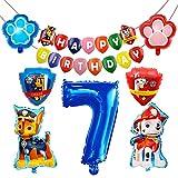 HONGECB Decoración Cumpleaños Patrulla Canina, Globos de Patrulla Canina, Banner de Happy Birthday, Numeros 7 Decoracion, Dog Birthday Party Foil Balloons for Kids Gift Fiesta, 9 Piezas