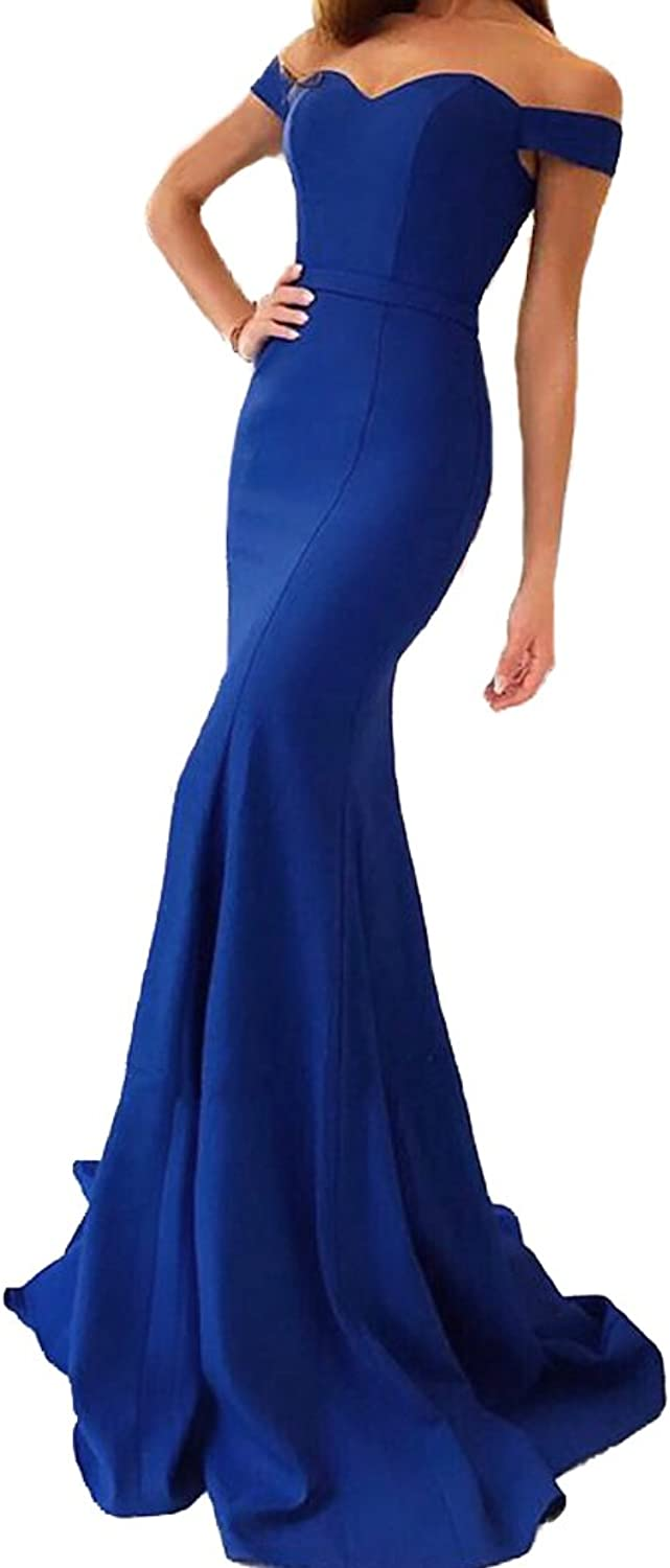 QiJunGe Off The Shoulder Prom Dress Long Formal Mermaid Evening Party Gowns