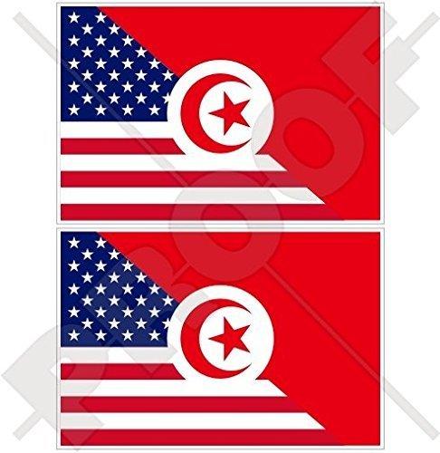 USA Vereinigte Staaten von Amerika und TUNESIEN, Amerikanisch und Tunesische Flagge, Fahne 100mm Auto & Motorrad Aufkleber, x2 Vinyl Stickers
