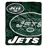 The Northwest Company Jets Football 50x60 Roll Out Royal Plush Raschel Throw Blanket