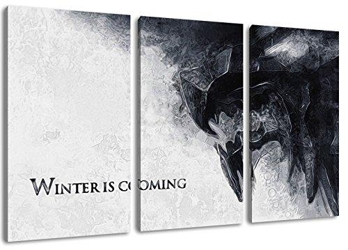 Dream-Arts Winter is Coming, Game of Thrones Motiv, 3-teilig auf Leinwand (Gesamtformat: 120x80 cm), Hochwertiger Kunstdruck als Wandbild. Billiger als EIN Ölbild! Achtung KEIN Poster oder Plakat!