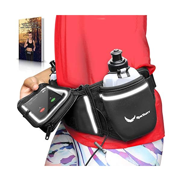 Runtasty [Voted No.1 Hydration Belt] Winners' Running Fuel Belt – Includes Accessories: 2 BPA Free Water Bottles & Runners Ebook – Fits Any iPhone – w/Touchscreen Cover – No Bounce Fit and More!
