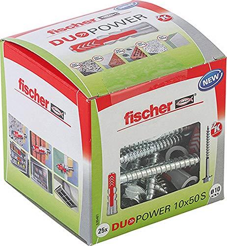 fischer 535461 caja de tacos y tornillos DUOPOWER, Sechskant, 10x50 S, Set de 25 Piezas