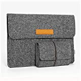 JSVER 13,3 Zoll MacBook Sleeve Laptophülle für MacBook Air/Pro Retina 12,9 Zoll iPad Pro Filz Sleeve Hülle Laptop Ultrabook Notebook Tasche, Graull-Dunkelgrau