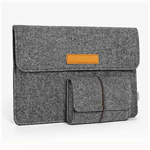 JSVER 13,3 Zoll MacBook Sleeve Laptophülle für MacBook Air 2009-2017/MacBook Pro 2013-2015 Retina 12,9 Zoll iPad Pro Filz Sleeve Hülle Laptop Ultrabook Notebook Tasche, Graull-Dunkelgrau