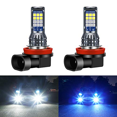 Yifengshun 2 x H8/H11 Luces Antiniebla de Coche 24SMD LED de un Solo Color/Doble Color DRL Luces Antiniebla Delanteras Bombilla de Faro—blanco+azul