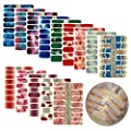 Nail Stickers Glitter Gradient Color Shine Full Nail Wraps Adhesive Nail Art Polish Strips Stickers Decals DIY Nail Design