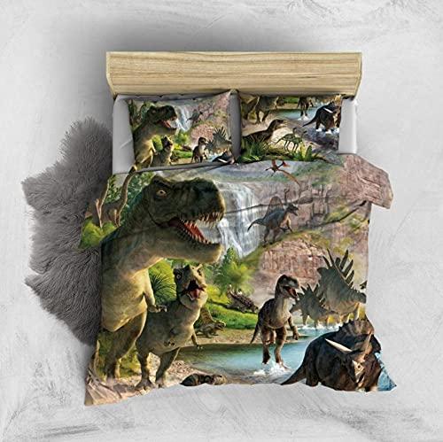 Juego De Cama Infantil 3D 220X230Cm Dinosaurio Tiranosaurio Funda De Edredón De Edredón Moderno con Cierre De Cremallera Y 2 Fundas De Almohadas Juego De Cama Microfibra Suave