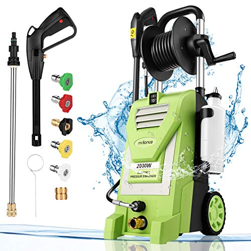 Pressure Washer mrliance 3800PSI Electric Pressure Washer 2000W Power Washer 3.0 GPM High Power Washer Surface Cleaner Machine with Hose Reel & Detergent Tank & 5 Nozzles (Green)