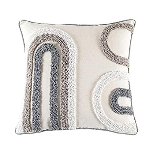 Funda de almohada de estilo nórdico, diseño moderno de macramé, estilo bohemio, geométrico, irregular, diseño de círculo, funda de cojín decorativa para sofá, cama, coche, sofá nórdico