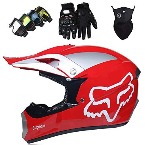 KIVEM Casco Motocross, Niños Adult DH Motocicleta Cross Helmet Set (Gafas Guantes Máscara) para MTB ATV Scooter Downhill Off Road - Dot/ECE - con Diseño de Fox - Cool - Rojo Brillante,S