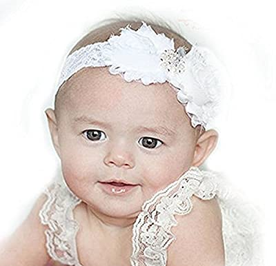 Baby White Christening Baptsim Headband- Handcrafted in The USA - On White Lace (Regular 3m-Toddler)