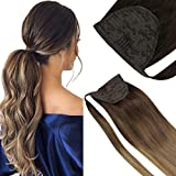 VeSunny Clip in Ponytail Hair Extensions Human Hair Brown Ombre Blonde Human Hair Ponytail Extensions Wrap Around 14inch Balayage Dark Brown Ombre Blonde 80g