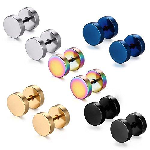5 Paare 8 mm Tian Edelstahl Herren Ohrstecker Creolen Tunnel Ohrringe für Damen Fakeplug Fake Plug Ohrringe Edelstahl Herren Pierced Earrings (5 paar 8mm)