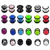 X/L 12 pares de expansores de tapones de acrílico de color mezclado para los oídos, para piercing (tamaño: 6 mm)