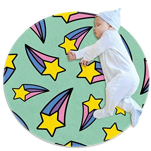 HDFGD Alfombra decorativa sala de estar redonda alfombra niña alfombra yoga alfombra lavable sala de estar, arco iris amarillo tiro estrella verde