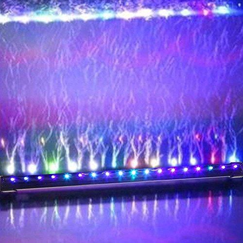 Louvra LED Aquarium Beleuchtung RGB Aquarienbeleuchtung mit Saugnapf Unterwasserleuchte Lichtleiste Tageslichtsimulator Wasserdicht IP68, 18*LED, 47cm,1.8w