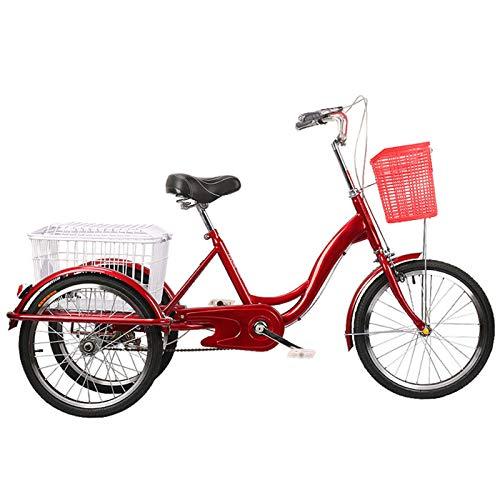 TWW Menschliche Dreiräder Für Fahrräder, Ältere Erwachsene, Fitness-Transport, Tret-Dreiräder, Freizeitkorbwagen, Sportfahrräder,Rot