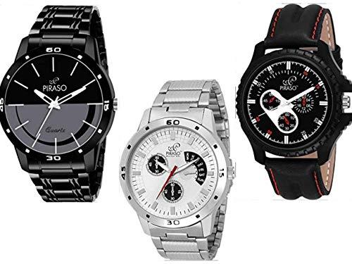 PIRASO Analogue Black Dial Stylish Watch for Men - Combo Set of 3