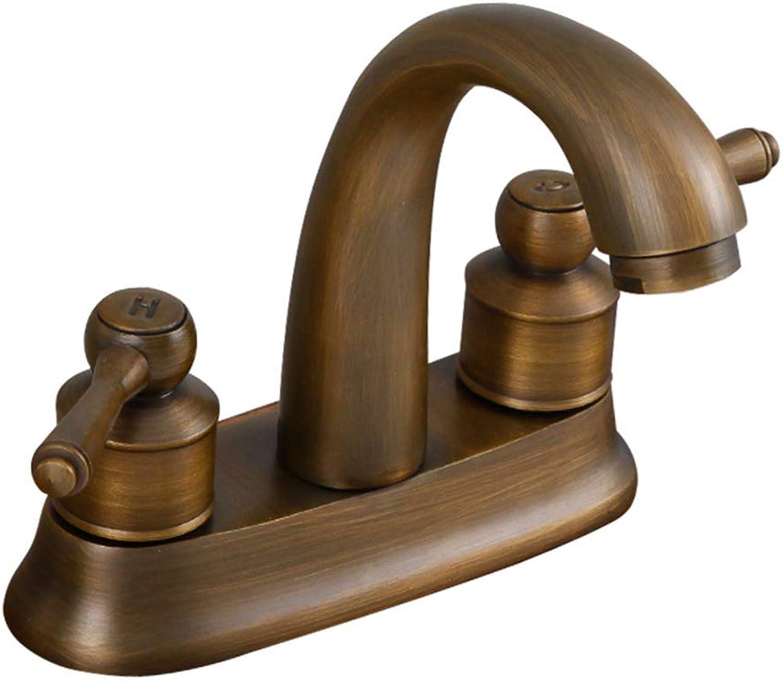 LIN HE SHOP Copper Retro 2 Holes Basin Faucet,Double Handles Widespread Sink Tap for Bathroom Hotel