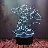 Anime Mickey Minnie Mouse Luz de noche 3D Led Ilusión Escritorio Lámpara de Mesa 16 Color Dimmable Lámpara Bebé Dormitorio Lámpara Creativo Niño Fiesta de Cumpleaños Decoración de Juguete Regalo