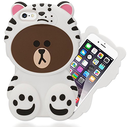 NALIA Handyhülle kompatibel mit iPhone 6 6S, 3D Dünnes Silikon Cartoon-Case Cover Stoßfeste Anti-Rutsch Schutz-Hülle, Back-Cover Handy-Tasche Bumper Smart-Phone Etui, Designs:White Bear