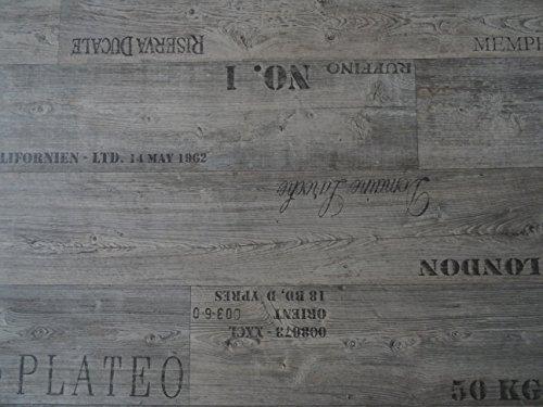 PVC mit Schriftzügen, grau - von Alpha-Tex 9.95€/m² (Länge: 400 cm, Breite: 200cm)