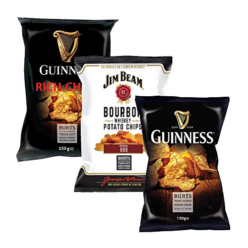Burts Chips Probierpaket . Guinness Flavour + Rich Chilli + Jim Beam BBQ Chips . Kartoffelchips . 420 g