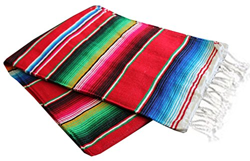 Del Mex Mexican Serape Blanket (Large, Red)
