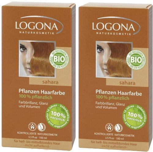 Ideenmanufaktur Logona Henna Haarfarbe Pflanzenhaarfarbe sahara im Doppelpack 2 x 100 g