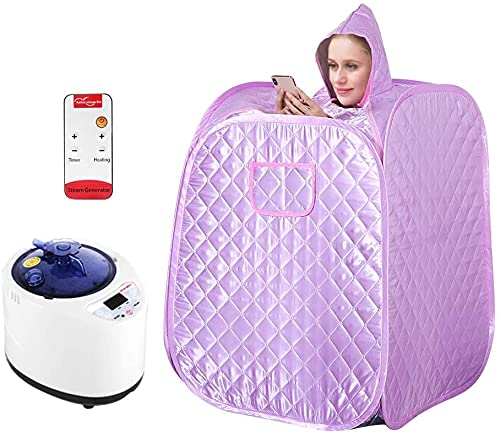 Portable Steam Sauna Home Spa, Foldable and Steamable Feet Two Person Sauna with Remote Control/Steam Pot for Weight Loss Detox Relaxation Full Body Slimming