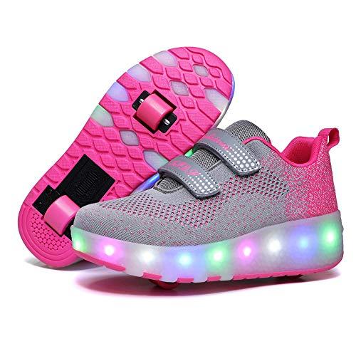 Zapatillas Con Ruedas Para Niños 7 Colores Led Luz Luminosas Zapatos Doble Rueda Patines Calzado...