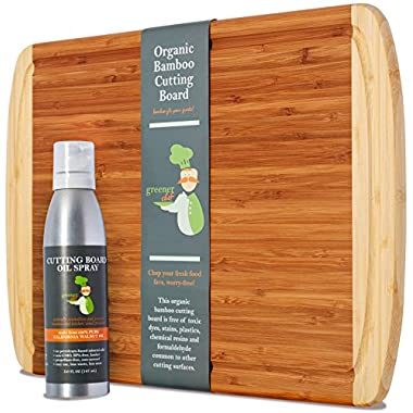 Premium Gift Set - 18 x 12 XL Bamboo Chopping Board and Cutting Board Oil - Wooden Cheese Board WITH CARE OIL FOR PROTECTING AND BEAUTIFYING YOUR INVESTMENT - Fancy Housewarming or Wedding Gift