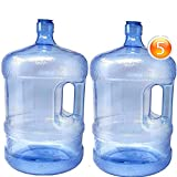 2-Pc Plastic Water Bottle With Screw Caps 5 Gallons Jug Container With Cap, Easy Grip Carry Handle   For Sports Camping Residential Commercial Use   BPA Free Food Grade
