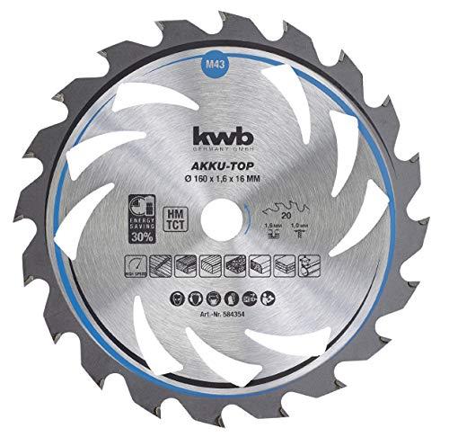 kwb 584354 Energy-Saving Kreissäge-Blatt Easy Cut, Ø 160 x 16 mm Dünn-Schnitt mit Spezial-Wechselzahn 20 Zähnen Z20, AKKU-TOP Dünnschnitt, 160 x 16