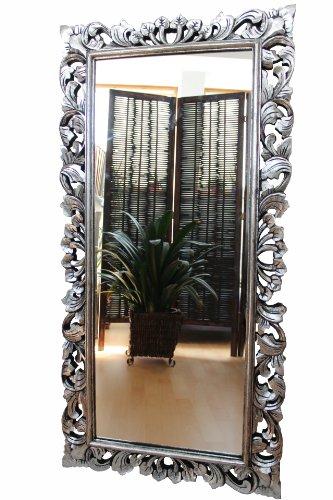 Naturesco Edler Wandspiegel Barockspiegel Spiegel Barock Rokoko Holzrahmen handgefertigt Silber antik erhtl. Größen 120cm x 60cm, 150cm x 80cm, 170cm x 90cm LengthRange 170cm x 90cm