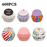 600pcs Cupcake Liners, Rainbow Paper Cupcake Wrapper Paper Cases, Liners Cake Cases for Wedding Birthday Christmas Party Baby Shower