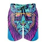 Photo de None Brand Short de bain respirant pour homme Motif lion Tigre léopard - Blanc - XXXXL-L