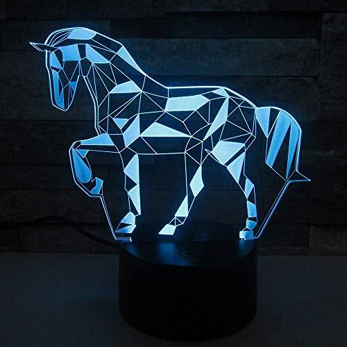 Diamond Horse 3D Nachtlicht Creative Illusion 3D Light LED 7 Farbwechsel Touch Tischlampe Kindergeschenk