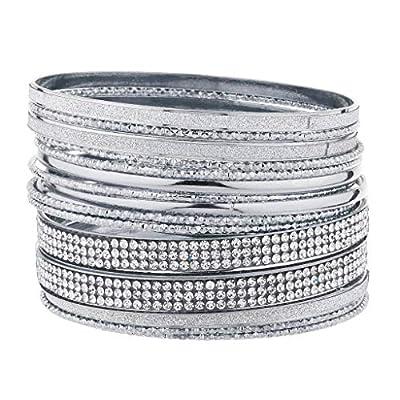 Lux Accessories Silver Tone Sticker Glitter Pave Crystal Rhinestone Bangle Set