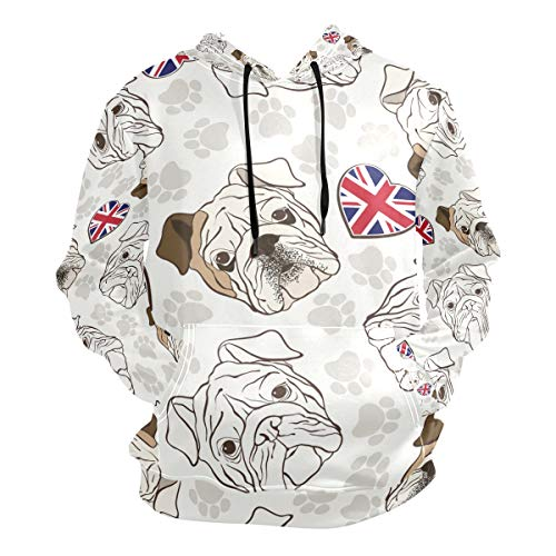 FANTAZIO Kapuzen-Sweatshirt, Motiv: Englische Bulldogge Pfotenabdrücke, für Herren - Mehrfarbig - Klein